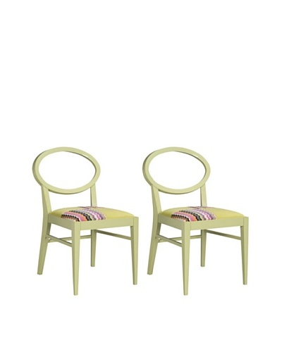 Set of 2 Dining chair Armless, Light Green