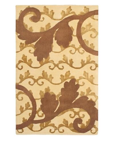 "Handmade Elegance Rug, Brown/Light Yellow, 3' 4"" x 5' 5"""