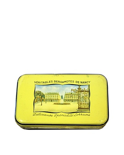 Vintage Veritables Bergamontes de Nancy Delicieuse Specialite Lorraine Tin, Yellow/Blue
