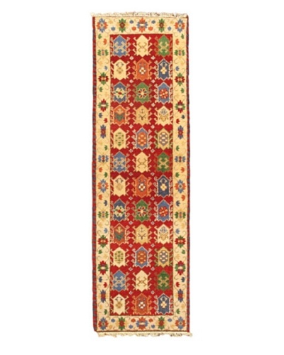 Hand-knotted India Royal Kazak, Red, 2' 1 x 6' 9 Runner