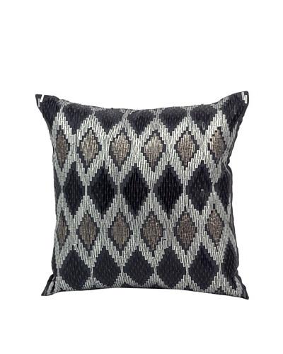 "Joseph Abboud Diamond Sequins Ikat Pillow, Charcoal, 12"" x 12"""