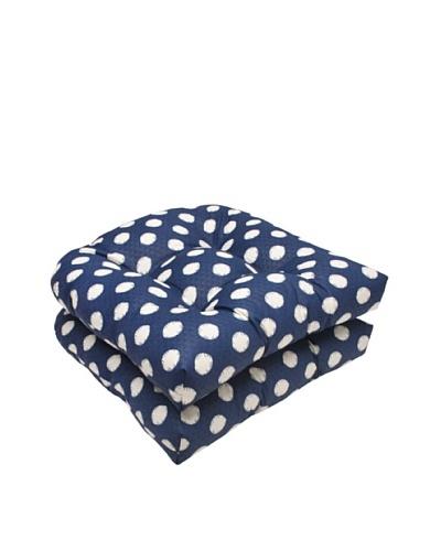 Waverly Sun-n-Shade Set of 2 Solar Spot Pool Wicker Seat Cushions [Navy/Cream]
