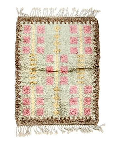Handmade Swedish Rya Rug, Grey/Pink/Brown/Yellow, 3' 3 X 2' 5