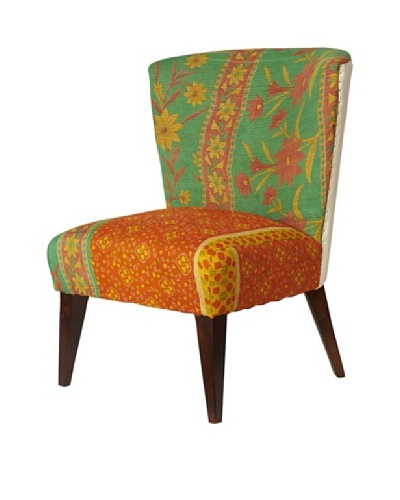 Kantha Arm Chair, Green/Orange Multi