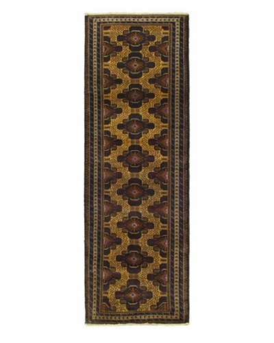 Hand-knotted Rizbaft Traditional Runner Wool Rug, Brown, 3' x 9' Runner