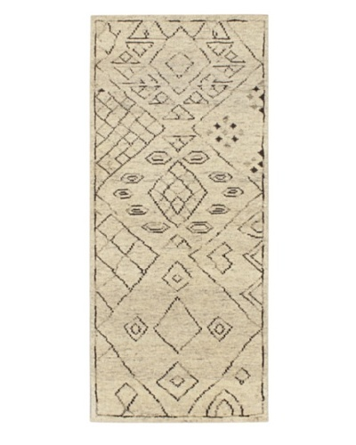 Hand-Knotted Mystique Gabbeh Wool Rug, Cream, 2' 5 x 5' 8