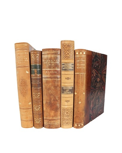Set of 5 decorative Leather Books, Tan/Brown/Gold