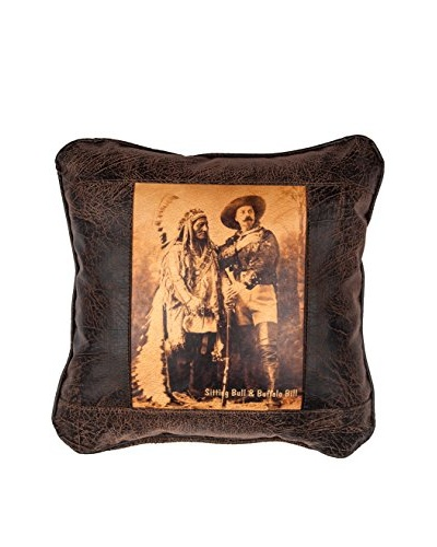 Sitting Bull & Buffalo Bill Leather Pillow, Brown