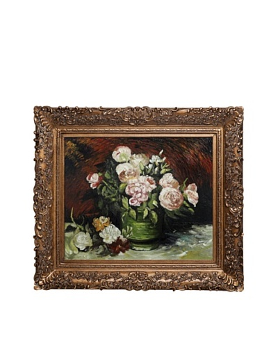 Vincent Van Gogh Bowl with Peonies & Roses Framed Oil Painting