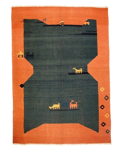 Kilim Rug, Orange/Green/Blue