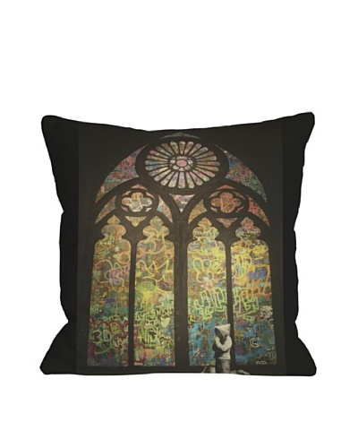 Banksy Stained Glass Window Pillow