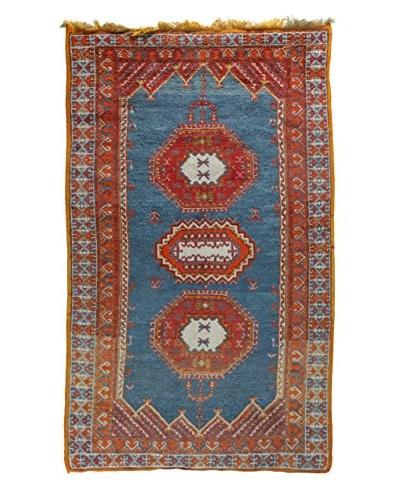 "Semi Antique Afghan Rug, Red/Orange/Blue, 4' 6"" x 8'"