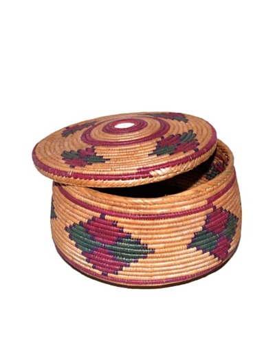 Hand Woven Sewing Basket with Lid