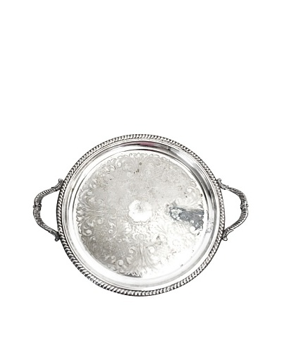Vintage Federal Silver Company Round Serving Tray with Handles, c.1930s