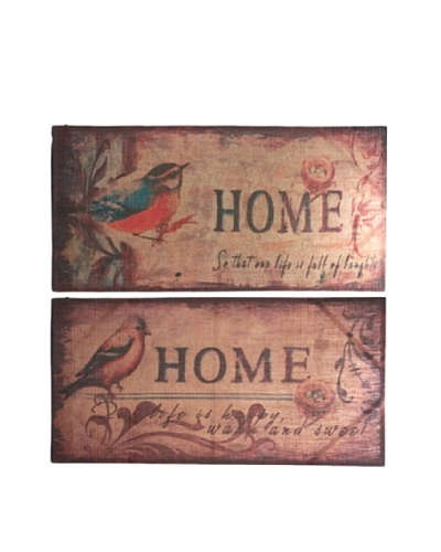 Set of 2  Burlap Bird Wall Décor