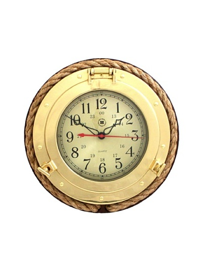 Brass Porthole Quartz Clock with Fisherman's Rope on Dark Cherry Wood