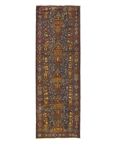 Hand-knotted Rizbaft Traditional Runner Wool Rug, Navy, 3' x 9' 3 Runner