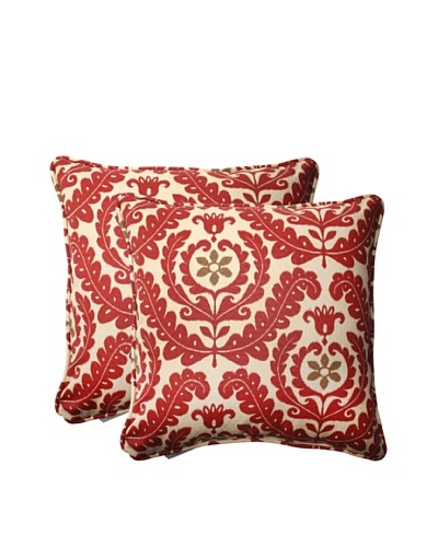 Set of 2 Outdoor Meridian Henna Square Toss Pillows [Red/Brown/Tan]