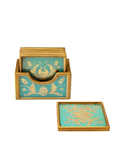 Set of 6 Reverse-Painted Glass Coasters, Turquoise