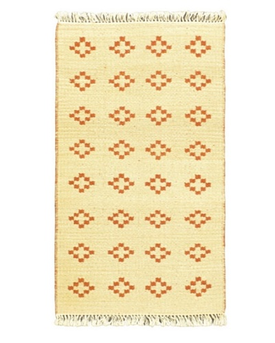"Hand Woven Natural Plush Kilim, Cream, 2' x 3' 7"" Runner"