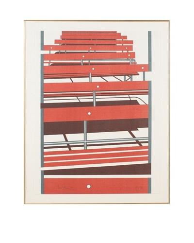 Abstrast Benches Framed Artwork, Red/White/Blue
