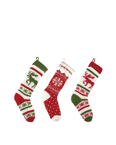Set of 3 Holiday Knit Stockings