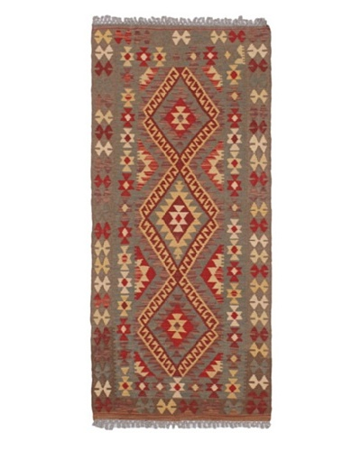 Hand woven Anatolian Kilim Traditional Runner Wool Kilim, Brown, 2' 7 x 5' 11 Runner