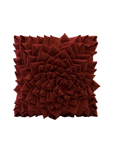 Fontella Hand-Sewn Felt Rose Pillow, Red
