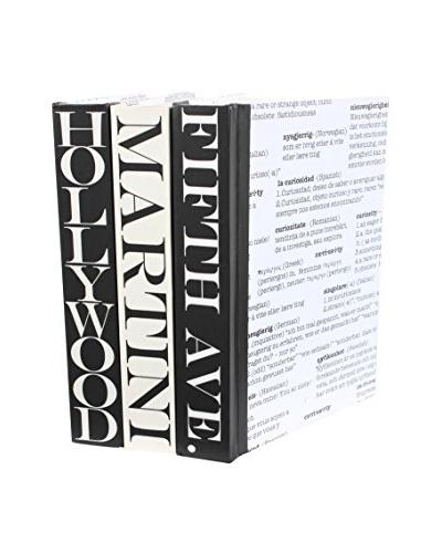 Set of 3 Image Collection Curiosity Books, Black/Cream/White