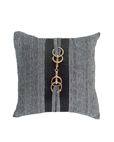 "Horn Button Pillow, Black/Gold/Grey, 18"" x 18""As You See"