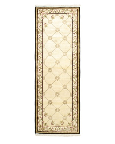 Hand-Knotted Karma Wool Rug, Cream, 4' 1 x 11' 6