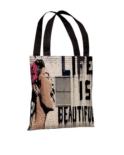 Banksy Life is Beautiful Tote Bag