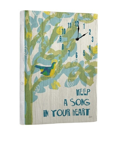 Keep A Song In Your Heart Reclaimed Wood Clock