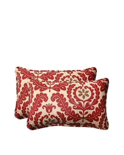 Set of 2 Outdoor Meridian Henna Rectangle Toss Pillows [Red/Brown/Tan]