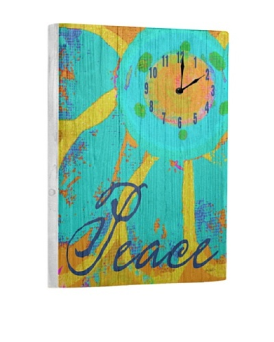 Peace Flower Reclaimed Wood Clock