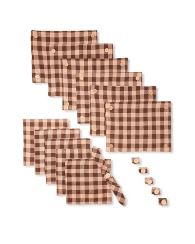 18-Piece Checkered Table Setting, Brown