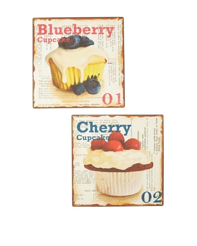 Set of 2 Blueberry & Cherry Metal Kitchen Signs, Multi, 12 x 12