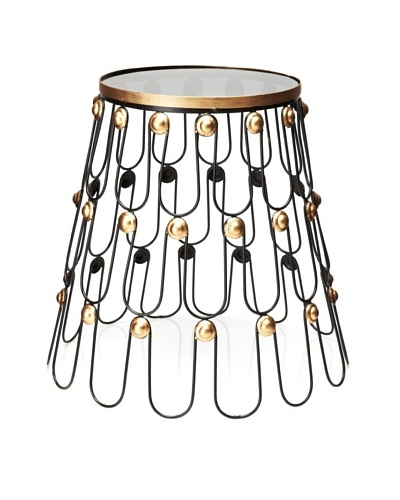 Metal End Table with Glass Top, Black/Gold