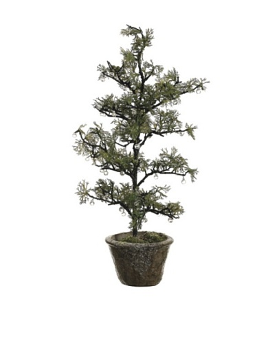 27 Iced Pine Tree In Cement Pot