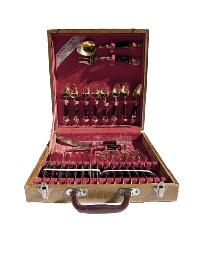 Johnny Ubol Vintage Bronze 28-Piece Flatware Set with Wooden Handles, c.1960s