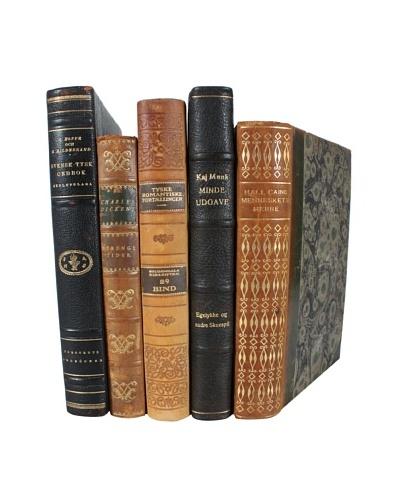 Set of 5 Decorative Leather Books, Multi
