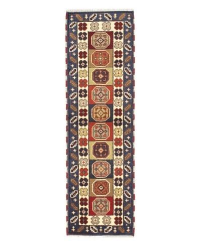 "Hand-Knotted Royal Kazak Wool Rug, Cream, Navy, 2' x 6' 7"" Runner"