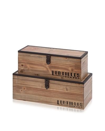 Set of 2 Wooden Trunks