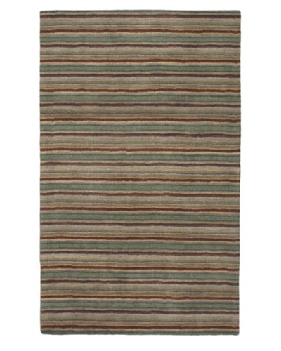 Hand Made Oxford Stripes Rug, Forest Green, 5' x 8'