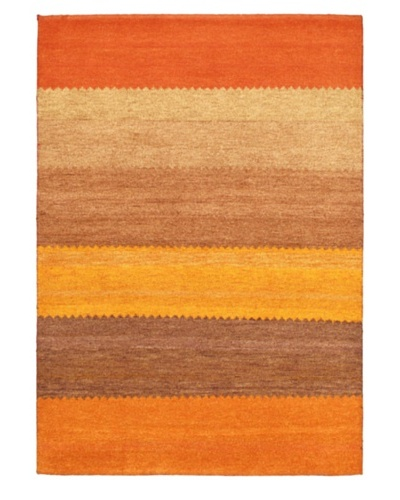 Hand-Knotted Gabbeh Modern Rug, Dark Orange, 4' 7 x 6' 7