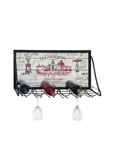 Chateau La Couspaude Wooden Wall Rack: Holds 6 Bottles and 6 Glasses
