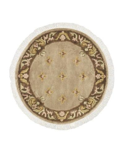 Hand-Knotted Karma Wool Rug, Khaki, 3' 4 Round