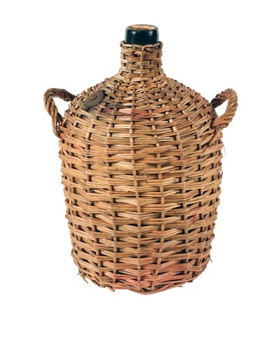 French Demijohn In Basket, Brown