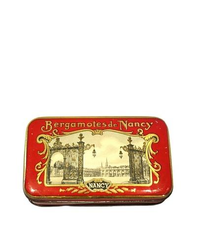 Vintage Bergmotes de Nancy Tin Box, Red/Gold/Cream