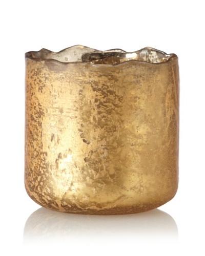 Antique Foil Finish Uneven Rim Glass Votive, Gold
